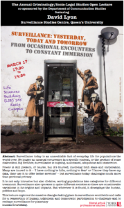 Poster for David Lyon Talk on Surveillance showing Banksy graffiti of three men in trenchcoats around a phone booth.
